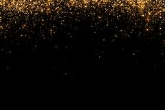 Waterfalls of golden glitter sparkle bubbles champagne particles stars on b.. Stock Illustration