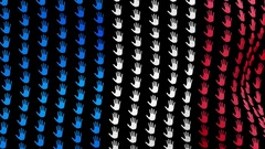 Plurality of voting palms forming France flag waving in the wind and fly back. Stock Footage
