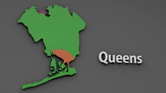 4K Queens Map Shape with Matte 3D Animation 1 Stock Footage