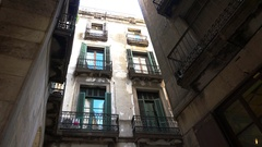 Dirty streets, the slums of Barcelona. Spain. 4K. Stock Footage