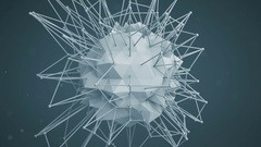 Polygonal network shape. Abstract 3d render animation loop Stock Footage
