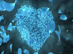 Whirl Rotating Blue Rose Flower Petals In Heart Shape Background Loop 4k Stock Footage