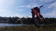 Bicicle Next to Large Lake in Belo Horizonte, Brazil Stock Footage