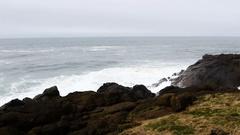 Waves Against Lava Rock Shore Depoe Bay Oregon Slow Motion Stock Footage