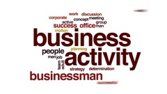 Business activity animated word cloud, text design animation. Stock Footage