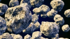 Abstract CGI motion graphics with flying asteroids Stock Footage