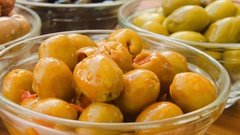 Olives stuffed with paprika Stock Footage