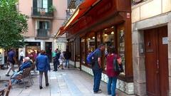 Showcase antique shop in Barcelona. Spain. 4K. Stock Footage