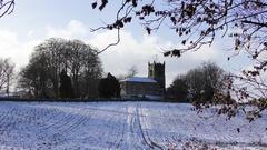 Country Scene snow church winter movement Stock Footage