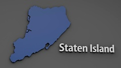 4K Staten Island Map Shape with Matte 3D Animation 1 Stock Footage
