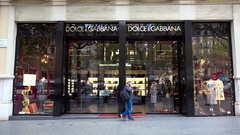 Fashion District Dolce Gabbana Shop Store. Barcelona. Spain. 4K. Stock Footage