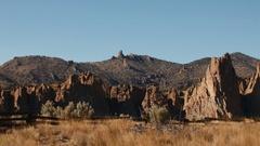 Smith Rock Desert Landscape Pan Stock Footage