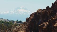 Smith Rock Desert Cliff & Snowcapped Mountain, State Park Oregon Stock Footage