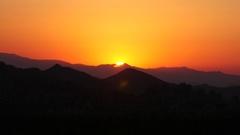 Golden Sunset Over Scenic Mountain Landscape Silhouette, Dusk in the Desert Stock Footage