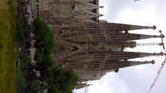 Sagrada Familia Cathedral In Barcelona. Spain. 4K. Vertical frame. Stock Footage