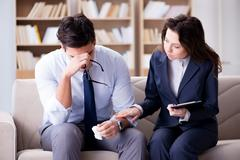 Medical concept with psychologist visit Stock Photos