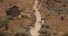 People Hiking & Jogging in Desert, Smith Rock State Park Stock Footage