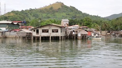 The  antique stilts house  for poor people Stock Footage