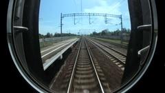 Train rides on rails, railway communications Stock Footage