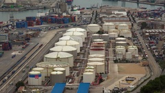 Container Port docks ship commercial shipping freight cargo. Barcelona, Spain. Stock Footage