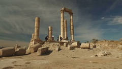 Walking towards the ruins of the Citadel in Amman, Jordan Stock Footage