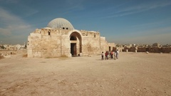 Tourists visit Citadel ruins in Amman, Jordan Stock Footage