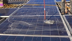 High Rise Window Cleaner, Photovoltaic System Stock Footage