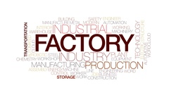 Factory animated word cloud, text design animation. Kinetic typography. Stock Footage