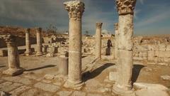 Steadicam shot of pillars of an ancient palace in Citadel ruins Amman, Jordan Stock Footage