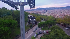 Cabin cable car. Cableway. Barcelona. Spain. 4K. Stock Footage