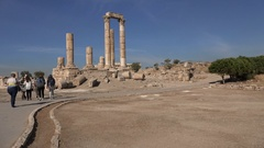 Tourists visit the Citadel ruins in Amman, Jordan Stock Footage