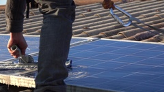 High Rise Window Cleaner on a Roof, Cleaning Photovoltaic System  Stock Footage