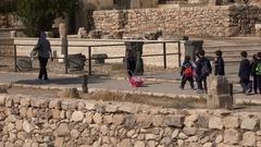 Jordanian school kids on field trip in Citadel, Amman Stock Footage