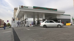 Overview of a petrol station in Amman, Jordan Middle East Stock Footage