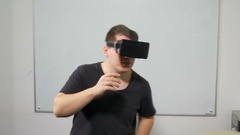 Happy young man dancing with VR 3d glasses Stock Footage