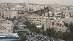 Major road running through the center of Amman city in Jordan Stock Footage