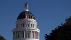 California State Capitol Coppola And Flags Stock Footage