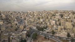 Panoramic overview of residential neighborhoods in Amman, Jordan Stock Footage