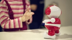 Robot that reacts to clapping Stock Footage