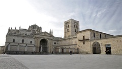 View of the gothic cathedral of Zamora in Spain Stock Footage