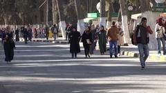 Muslim students walk to class on campus University of Jordan in Amman Stock Footage