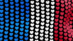 Plurality of voting hearts forming France flag waving in the wind and fly back Stock Footage