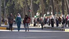 Students walk over campus University of Jordan in Amman, Middle East Stock Footage