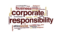 Corporate responsibility animated word cloud, text design animation. Stock Footage