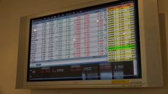Ticker board (on a television) financial information Amman Stock Exchange Stock Footage