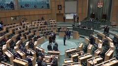 Overview of the parliament house in Amman, the Jordanian national assembly Stock Footage