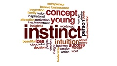 Instinct animated word cloud, text design animation. Stock Footage