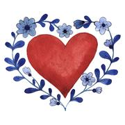 Happy Valentines Day love celebration in a watercolor style isolated Stock Illustration