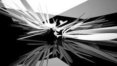 Abstract glossy black interior with white sculpture. Architectural background. Stock Footage