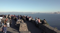 Tourists Gathered at San Francisco and Golden Gate Northern View Point Stock Footage